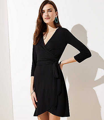 로프트 LOFT Wrap Dress,Black
