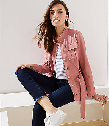 로프트 LOFT Tie Waist Utility Jacket,Blush Rose