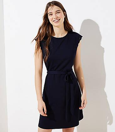 로프트 LOFT Embroidered Shoulder Tie Waist Dress,Forever Navy