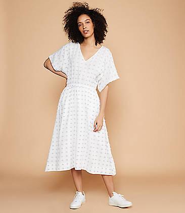 로프트 LOFT Lou & Grey Pom Pom V-Neck Midi Dress,White