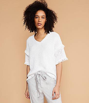 로프트 LOFT Lou & Grey Fringestitch Sweater,White