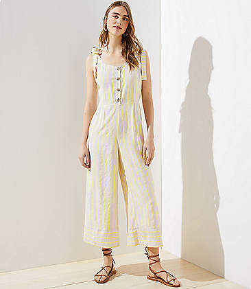 로프트 LOFT Beach Striped Tie Shoulder Jumpsuit,Sunkissed Stripe