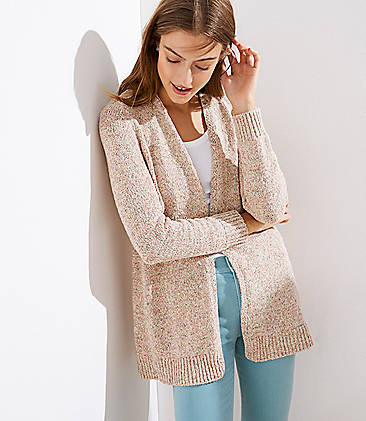 로프트 LOFT Marled Shirttail Open Cardigan,Orange Multi