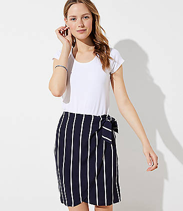 로프트 LOFT Striped Wrap Skirt,Forever Navy