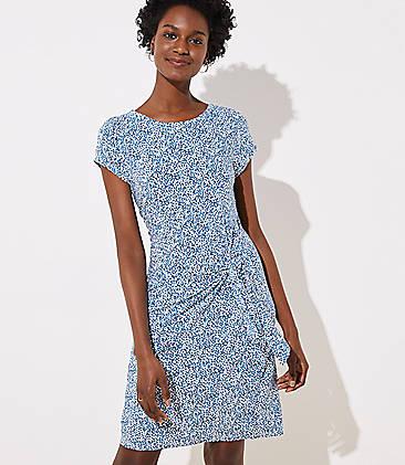 로프트 LOFT Garden Tie Waist Dress,Aqua Oasis