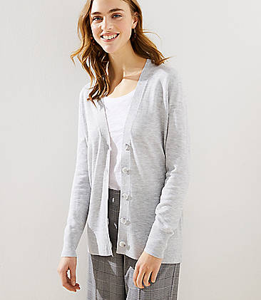 로프트 LOFT Boyfriend Cardigan,Silver Heather Grey
