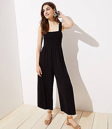 로프트 LOFT Smocked Wide Leg Jumpsuit,Black