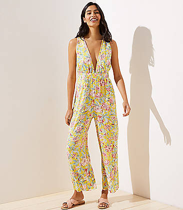 로프트 LOFT Beach Floral Double V Wide Leg Jumpsuit,Aspen Gold