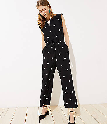 로프트 LOFT Dotted Flutter Drawstring Jumpsuit,Black