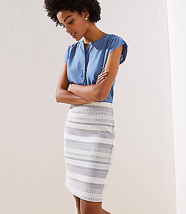 로프트 LOFT Striped Jacquard Pull On Pencil Skirt,Midnight Sea