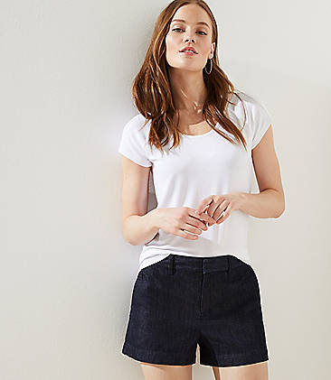로프트 LOFT Denim Roll Shorts in Rinse Wash,Rinse Wash