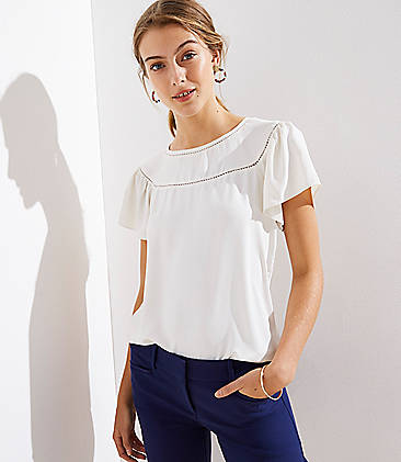 로프트 LOFT Mixed Media Ladder Stitch Trim Top,Whisper White