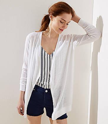 로프트 LOFT Draped Open Cardigan,White