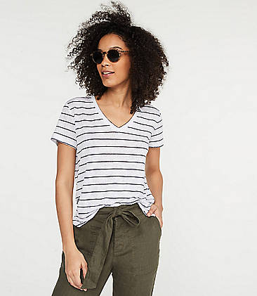 로프트 LOFT Lou & Grey Striped Linen V-Neck Shirttail Tee,White