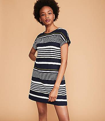 로프트 LOFT Lou & Grey Stripe Cuffed Tee Dress,Forever Navy