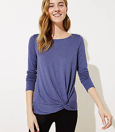 로프트 LOFT Knotted Hem Top,Smooth Blue Heather