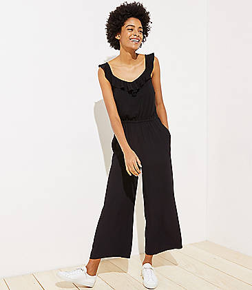 로프트 LOFT Ruffle Neck Mixed Media Jumpsuit,Black