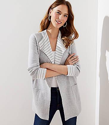 로프트 LOFT Striped Reversible Sweater Jacket,Subtle Grey Heather