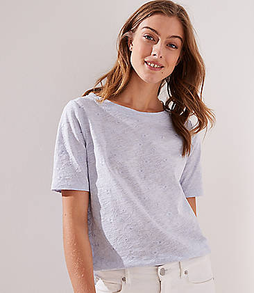로프트 LOFT Flower Embroidered Elbow Sleeve Tee,Hush Blue