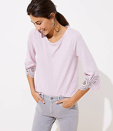 로프트 LOFT Eyelet Sleeve Top,Soft Lotus