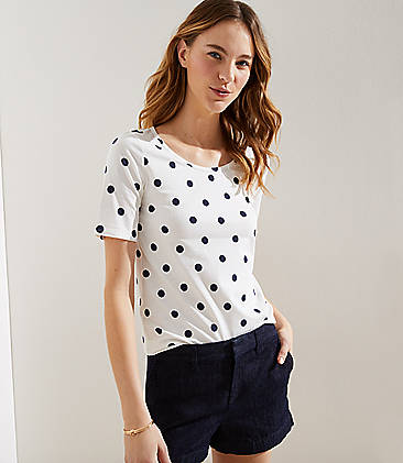 로프트 LOFT Polka Dot Elbow Sleeve Tee,Whisper White