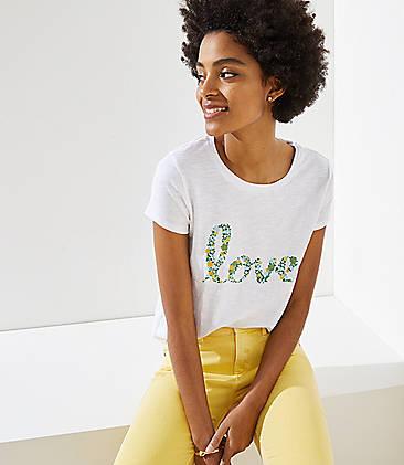 로프트 LOFT Earth Month Love Floral Shirttail Tee,White
