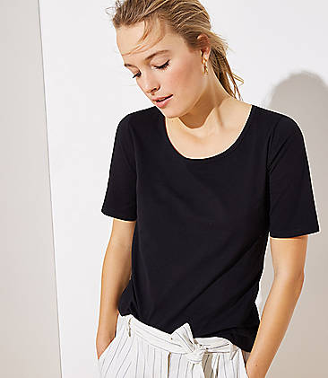 로프트 LOFT Elbow Sleeve Tee,Black