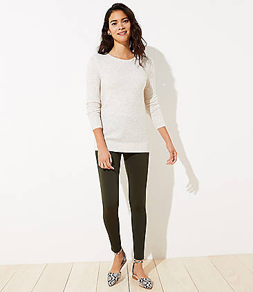 로프트 LOFT Leggings in Seamed Ponte,Dark Caper