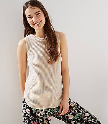 로프트 LOFT Ribbed Sleeveless Sweater,Soft Almond Heather