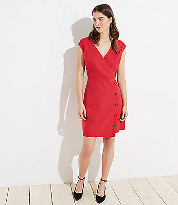 로프트 LOFT Side Button Wrap Dress,Maraschino Cherry