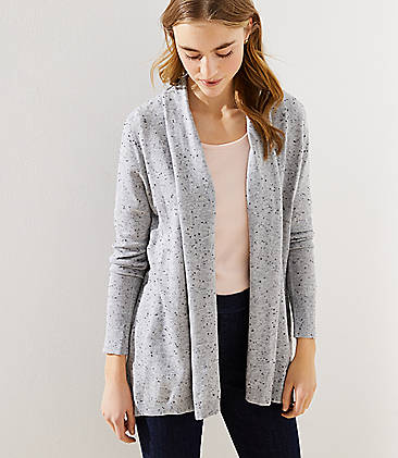 로프트 LOFT Speckled Soft Open Cardigan,Light Grey Melange