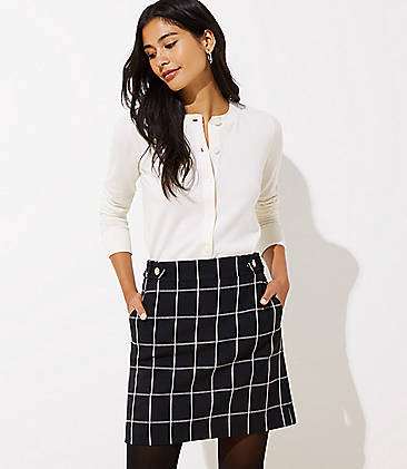 로프트 LOFT Windowpane Button Tab Waist Shift Skirt,Black