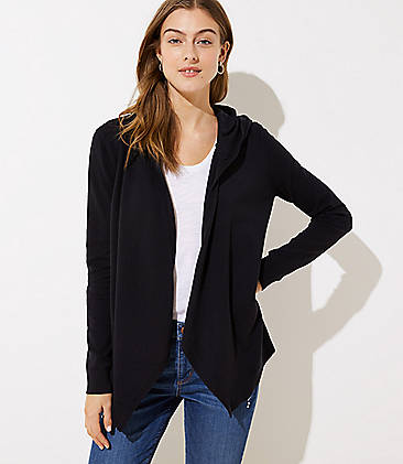 로프트 LOFT Hooded Open Cardigan,Black