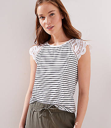 로프트 LOFT Striped Lace Cap Sleeve Tee,White