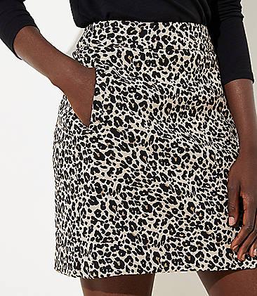 로프트 LOFT Leopard Print Shift Skirt,Oyster Beige
