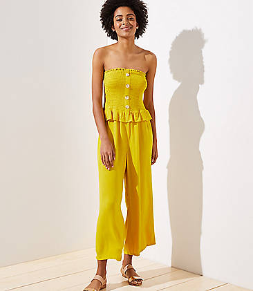 로프트 LOFT Beach Smocked Strapless Jumpsuit,Warm Saffron