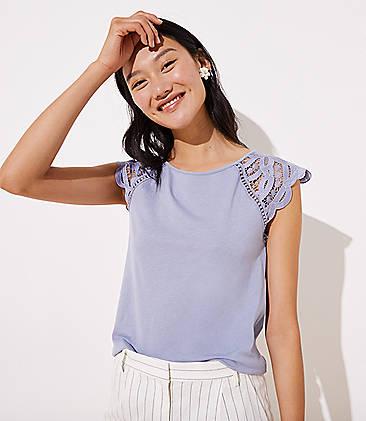로프트 LOFT Lace Cap Sleeve Tee,Effervescent Blue