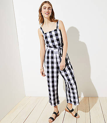 로프트 LOFT Gingham Smocked Back Tie Waist Jumpsuit,White