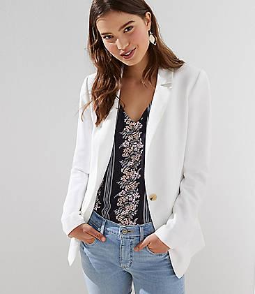 로프트 LOFT Textured Long Blazer,Antique White