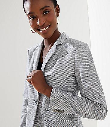 로프트 LOFT Striped Knit Modern Blazer,Whisper White