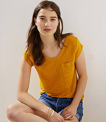 로프트 LOFT Pocket Linen Tee,Golden Yellow