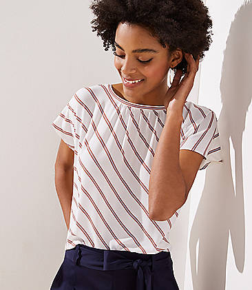 로프트 LOFT Striped Shirred Flutter Tee,Whisper White