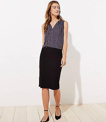 로프트 LOFT Ribbed Pull On Pencil Skirt,Black