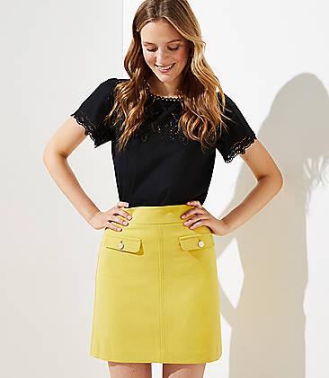 로프트 LOFT Flap Pocket Shift Skirt,Solar Yellow