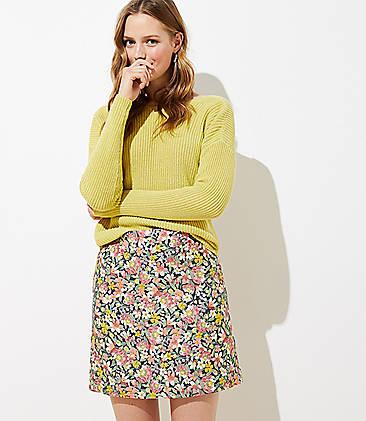 로프트 LOFT Floral Shift Skirt,Coastal Grey