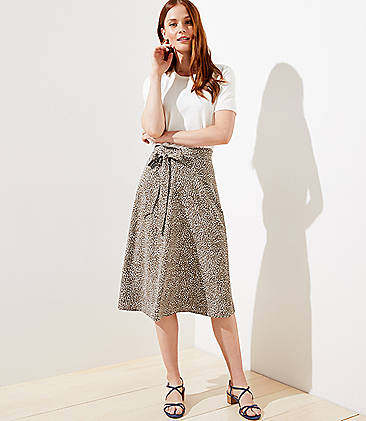 로프트 LOFT Leopard Print Tie Waist Midi Skirt,Olive Branch