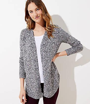 로프트 LOFT Marled Shirttail Open Cardigan,Black Multi