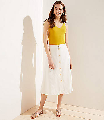 로프트 LOFT Button Front Midi Skirt,Whisper White
