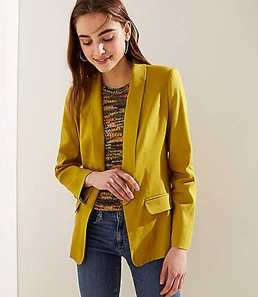 로프트 LOFT Open Tuxedo Blazer,Lemongrass