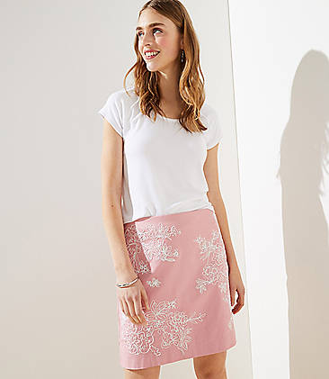 로프트 LOFT Floral Embroidered Shift Skirt,Luminous Blush